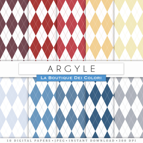 Argyle Pattern Digital Paper - La Boutique Dei Colori
