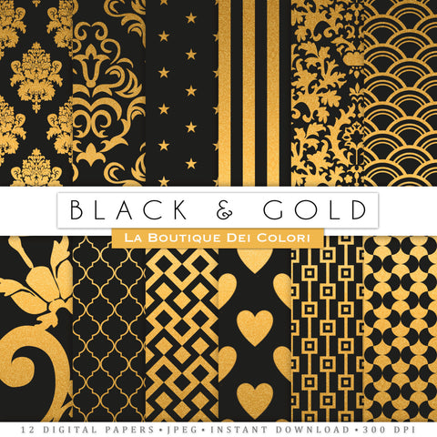 Black and Gold Digital Paper - La Boutique Dei Colori
