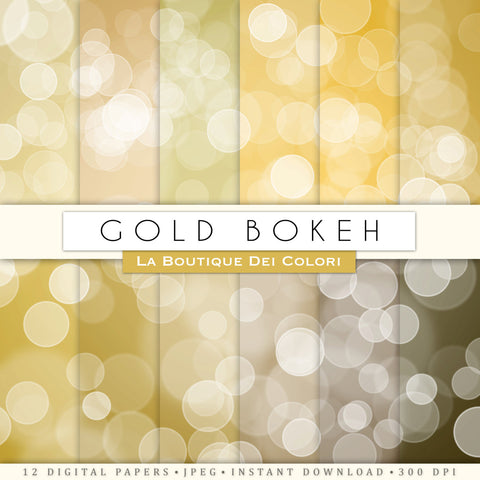 Gold Bokeh Digital Paper - La Boutique Dei Colori