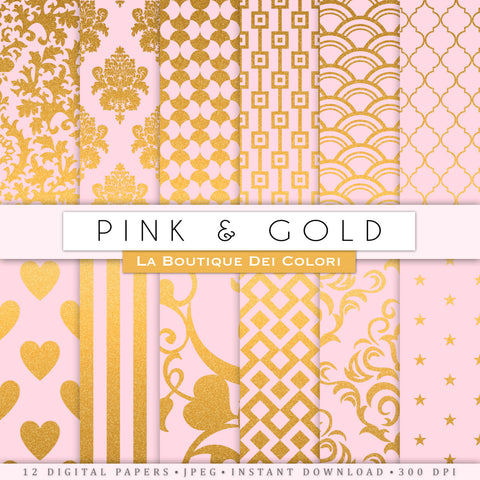Pink and Gold Digital Paper - La Boutique Dei Colori