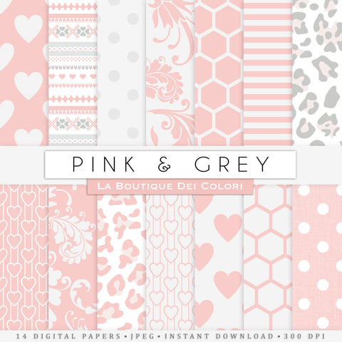 Pink and Gray Digital Paper - La Boutique Dei Colori