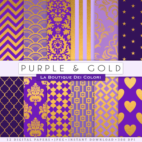 Purple and Gold Digital Paper - La Boutique Dei Colori