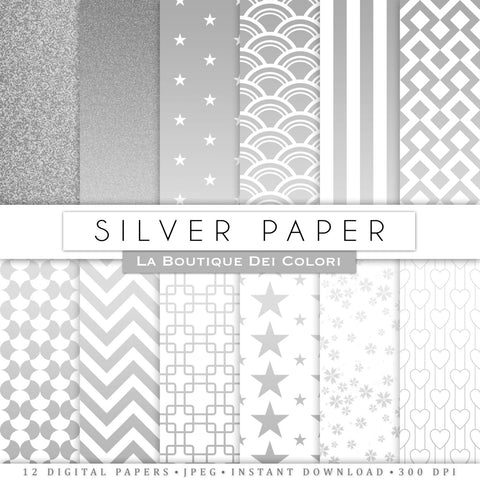 Silver Digital Paper - La Boutique Dei Colori
