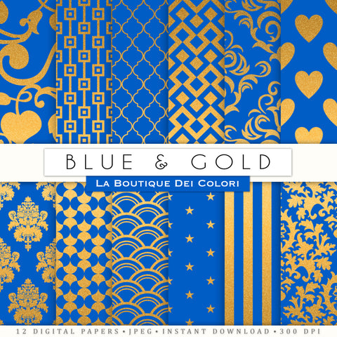 Blue and Gold Digital Paper - La Boutique Dei Colori