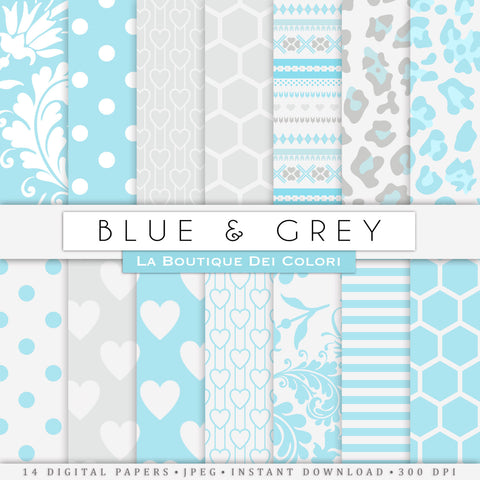 Blue and Gray Digital Paper - La Boutique Dei Colori