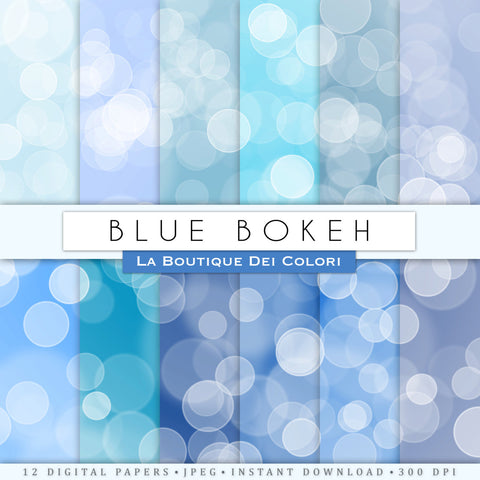 Blue Bokeh Digital Paper - La Boutique Dei Colori