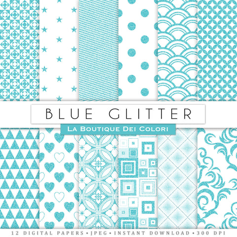 Blue Glitter Digital Paper - La Boutique Dei Colori