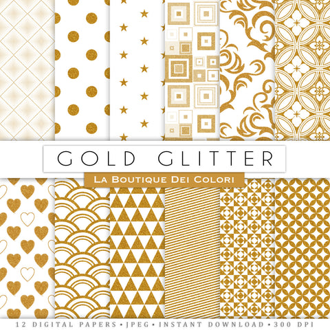 Gold Glitter Digital Paper - La Boutique Dei Colori