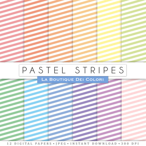 Pastel Stripes Digital Paper - La Boutique Dei Colori