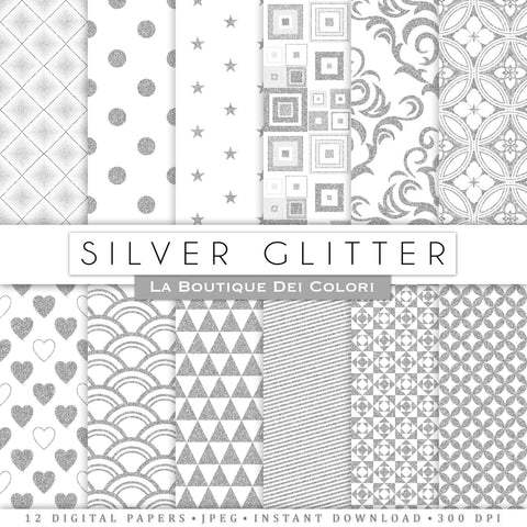 Silver Glitter Digital Paper - La Boutique Dei Colori