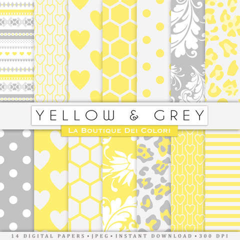 Yellow and Gray Digital Paper - La Boutique Dei Colori