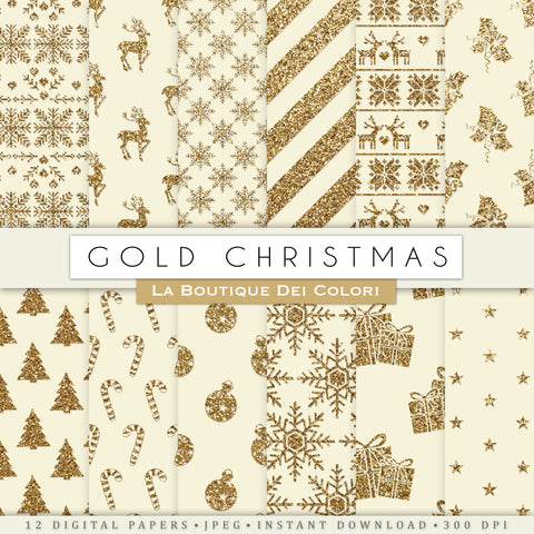 Vintage Gold Christmas Digital Paper - La Boutique Dei Colori