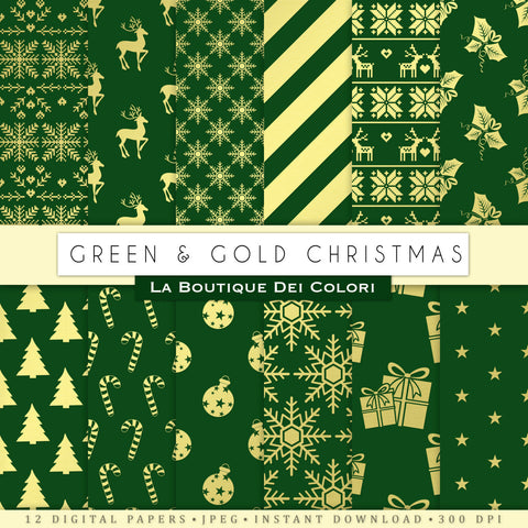 Green and Gold Christmas Digital Paper - La Boutique Dei Colori