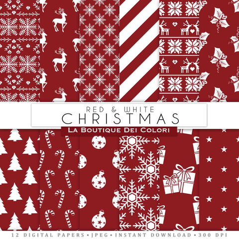 Red and White Christmas Digital Paper - La Boutique Dei Colori