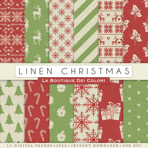 Linen Texture Christmas Digital Paper - La Boutique Dei Colori