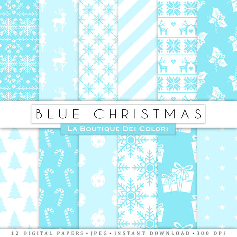 Blue Christmas Digital Paper - La Boutique Dei Colori