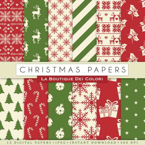 Red and Green Christmas Digital Paper - La Boutique Dei Colori