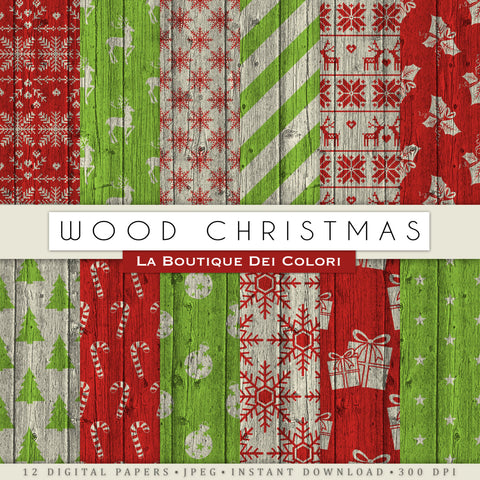 Wood Texture Christmas Digital Paper - La Boutique Dei Colori