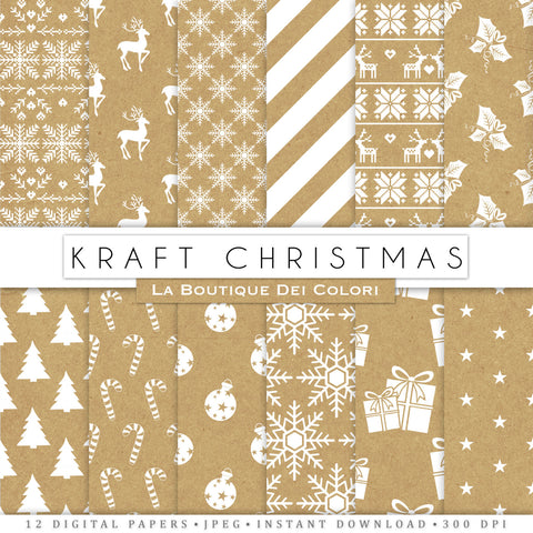 Kraft Christmas Digital Paper - La Boutique Dei Colori