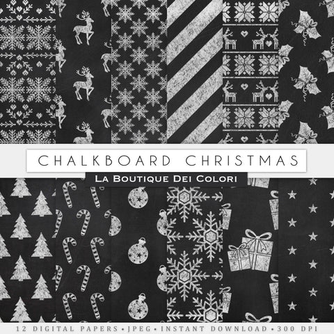 Chalkboard Christmas Digital Paper - La Boutique Dei Colori