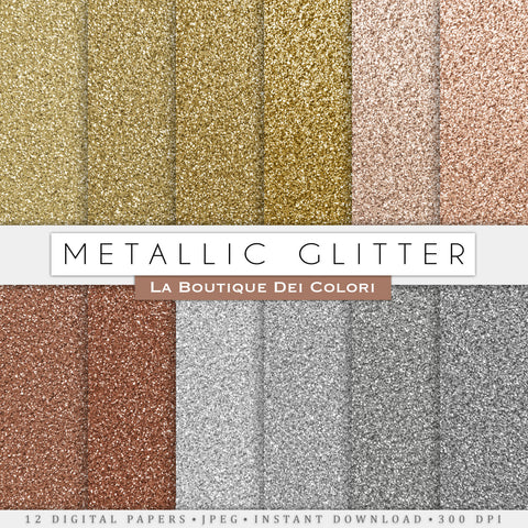 Metallic Glitter Digital Paper - La Boutique Dei Colori