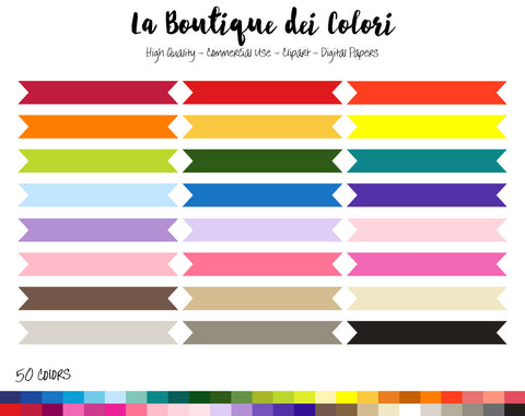 Thin Ribbon Banner Planner Clipart - La Boutique Dei Colori