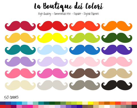 Moustache Planner Clipart - La Boutique Dei Colori
