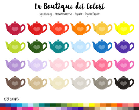 Tea Pot Planner Clipart - La Boutique Dei Colori