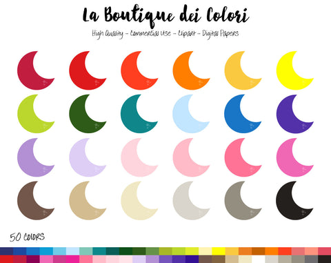 Half Moon Planner Clipart - La Boutique Dei Colori