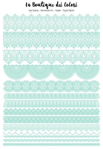 Green Mint Digital Lace Borders Clipart - La Boutique Dei Colori