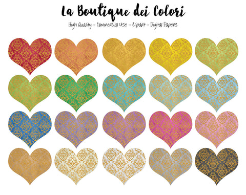 Gold Thread Heart Clipart - La Boutique Dei Colori