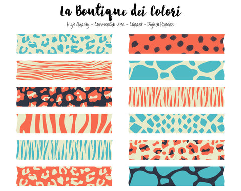 Colorful Animal Print Washi Tape Clipart - La Boutique Dei Colori