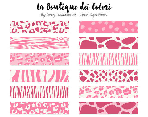 Pink Animal Print Washi Tape Clipart - La Boutique Dei Colori