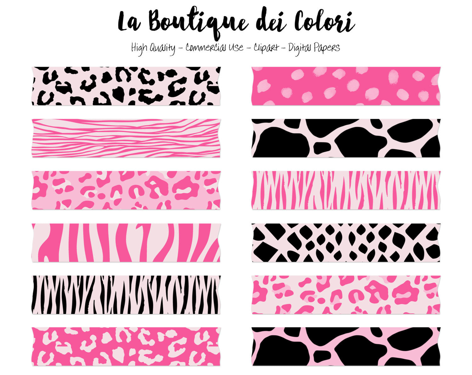 Pink and Black Animal Print Washi Tape Clipart