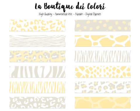 Yellow and Gray Animal Print Washi Tape Clipart - La Boutique Dei Colori