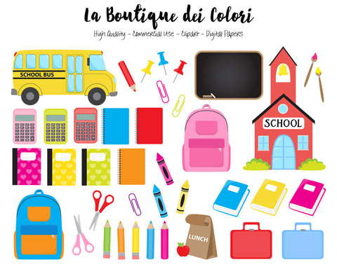 Kids Back to School Clipart - La Boutique Dei Colori