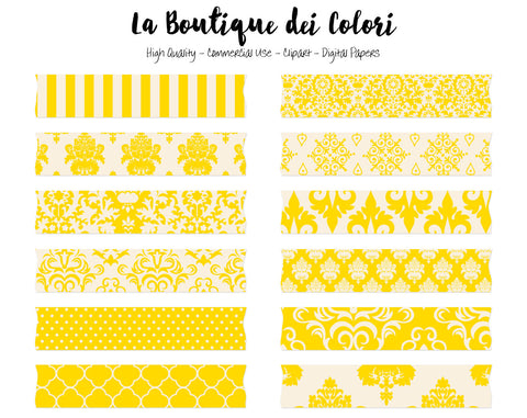 Yellow Damask Washi Tape Clipart - La Boutique Dei Colori