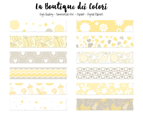 Yellow New Baby Washi Tape Clipart - La Boutique Dei Colori