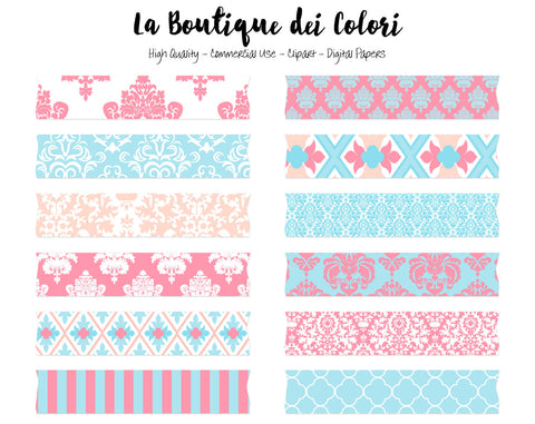 Pink and Blue Damask Digital Washi Tape Clipart - La Boutique Dei Colori