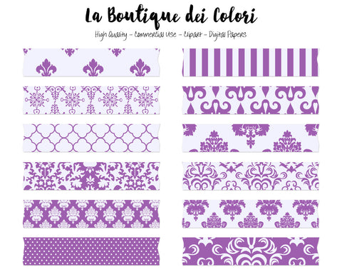 Purple Damask Washi Tape Clipart - La Boutique Dei Colori