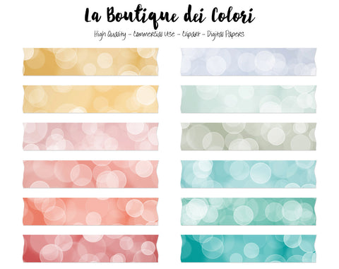 Coral and Turquoise Bokeh Washi Tape Clipart - La Boutique Dei Colori