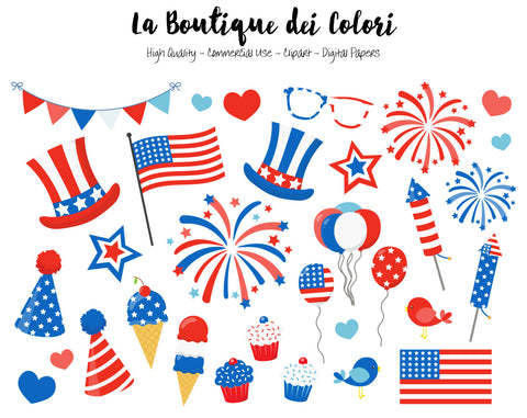 4th of July Clipart - La Boutique Dei Colori