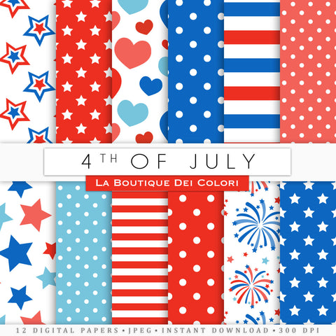 4th of July Digital Paper - La Boutique Dei Colori