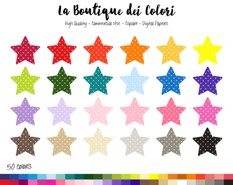 Polka-dot Star Planner Clipart - La Boutique Dei Colori
