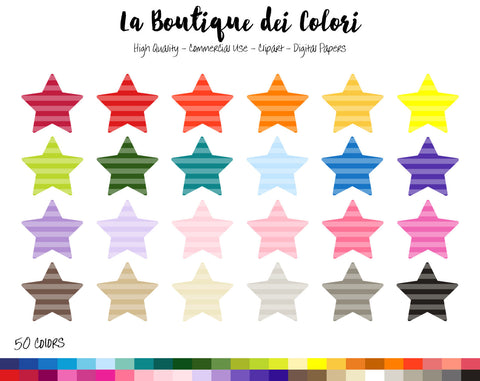 Striped Star Planner Clipart - La Boutique Dei Colori