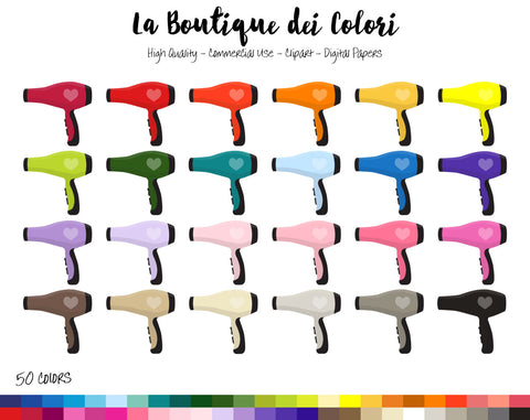 Hair Dryer Planner Clipart - La Boutique Dei Colori