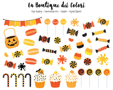 Orange and Black Halloween Candy Clipart - La Boutique Dei Colori