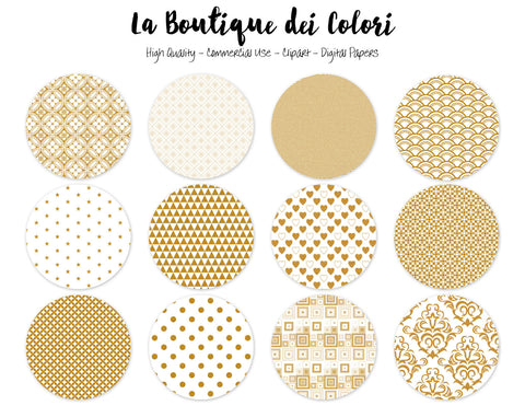 Gold Glitter Circles Clipart - La Boutique Dei Colori