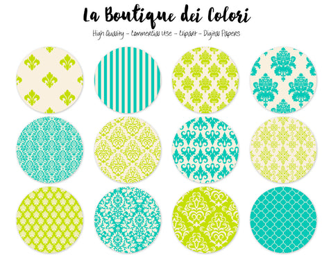 Green Damask Circles Clipart - La Boutique Dei Colori