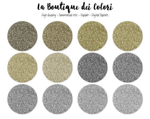 Gold and Silver Glitter Circles Clipart - La Boutique Dei Colori
